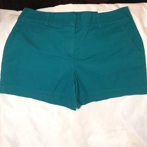 """NWT LOFT 4"""" teal colored shorts, size 6."""